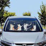 フェリシモ猫部  YOU+MORE! たまり場でちょうちょと遊ぶニャンシェード〈フロントガラス用〉